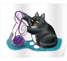 Mouse and Kitten Play with Purple Yarn Poster