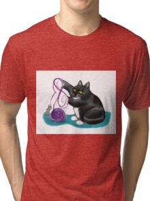 Mouse and Kitten Play with Purple Yarn Tri-blend T-Shirt