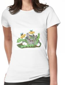 Dandelion flower brings buzzing Bees that Tease Kitten Womens Fitted T-Shirt