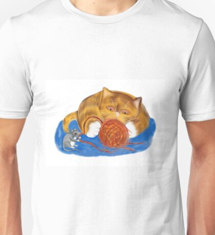 Mouse and Kitten with a Yarn Ball Unisex T-Shirt