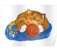 Mouse and Kitten with a Yarn Ball Poster