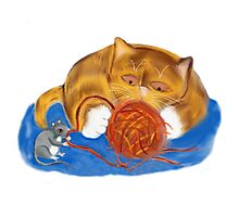 Mouse and Kitten with a Yarn Ball Photographic Print