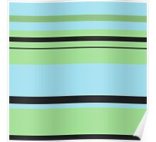 Blue, Green, and Black Stripes Poster