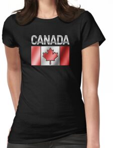 Canada - Canadian Flag & Text - Metallic Womens Fitted T-Shirt