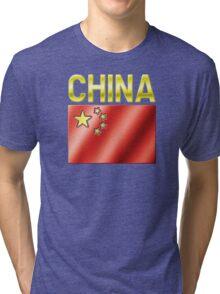 China - Chinese Flag & Text - Metallic Tri-blend T-Shirt