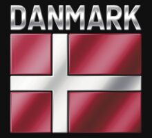 Danmark - Danish Flag & Text - Metallic by graphix
