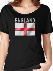 England - English Flag & Text - Metallic Women's Relaxed Fit T-Shirt