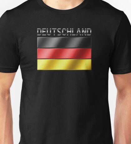 Deutschland - German Flag & Text - Metallic Unisex T-Shirt