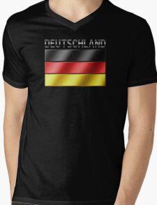 Deutschland - German Flag & Text - Metallic Mens V-Neck T-Shirt