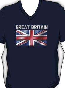 Great Britain - British Flag & Text - Metallic T-Shirt