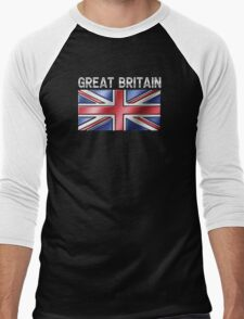 Great Britain - British Flag & Text - Metallic Men's Baseball ¾ T-Shirt