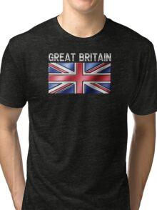 Great Britain - British Flag & Text - Metallic Tri-blend T-Shirt