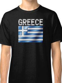 Greece - Greek Flag & Text - Metallic Classic T-Shirt