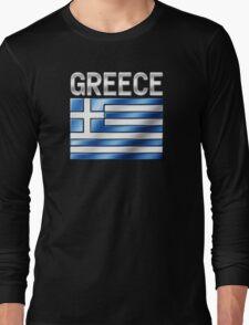 Greece - Greek Flag & Text - Metallic Long Sleeve T-Shirt