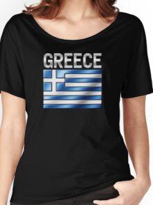 Greece - Greek Flag & Text - Metallic Women's Relaxed Fit T-Shirt