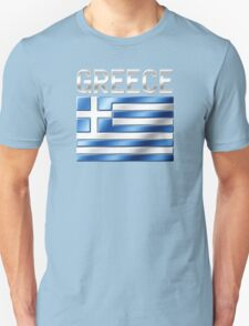 Greece - Greek Flag & Text - Metallic Unisex T-Shirt