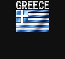 Greece - Greek Flag & Text - Metallic Unisex T-Shirt