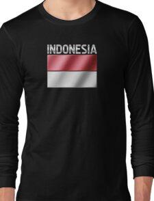 Indonesia - Indonesian Flag & Text - Metallic Long Sleeve T-Shirt