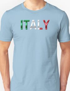 Italy - Italian Flag - Metallic Text Unisex T-Shirt
