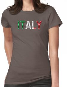 Italy - Italian Flag - Metallic Text Womens Fitted T-Shirt
