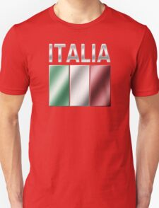 Italia - Italian Flag & Text - Metallic T-Shirt