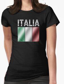 Italia - Italian Flag & Text - Metallic Womens Fitted T-Shirt
