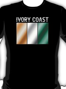 Ivory Coast - Ivorian Flag & Text - Metallic T-Shirt