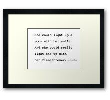 Bo Burnham- Flamethrower Poem Framed Print