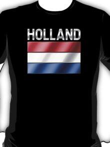 Holland - Dutch Flag & Text - Metallic T-Shirt