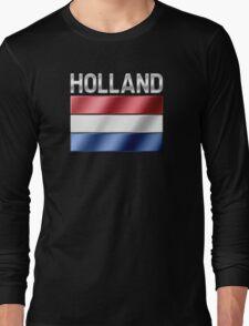 Holland - Dutch Flag & Text - Metallic Long Sleeve T-Shirt