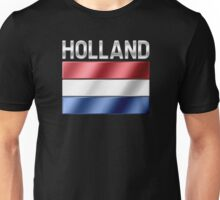 Holland - Dutch Flag & Text - Metallic Unisex T-Shirt