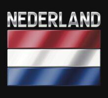Nederland - Dutch Flag & Text - Metallic T-Shirt