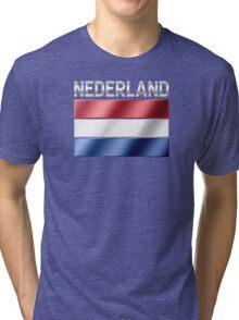 Nederland - Dutch Flag & Text - Metallic Tri-blend T-Shirt