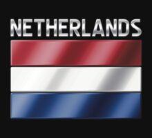 Netherlands - Dutch Flag & Text - Metallic T-Shirt