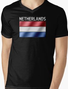Netherlands - Dutch Flag & Text - Metallic Mens V-Neck T-Shirt