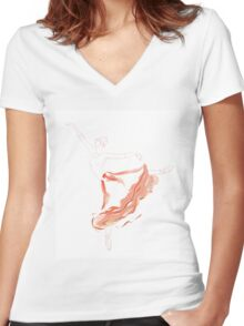 Ballet Dancer in Long Red Tutu Skirt Women's Fitted V-Neck T-Shirt