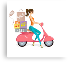 Cute Woman on Scooter Driving from Shopping Sale Canvas Print