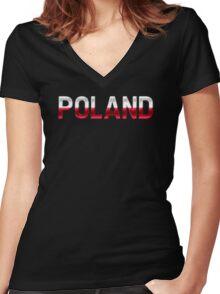 Poland - Polish Flag - Metallic Text Women's Fitted V-Neck T-Shirt