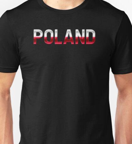 Poland - Polish Flag - Metallic Text Unisex T-Shirt