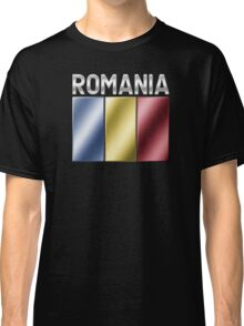 Romania - Romanian Flag & Text - Metallic Classic T-Shirt