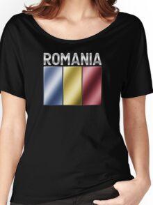 Romania - Romanian Flag & Text - Metallic Women's Relaxed Fit T-Shirt