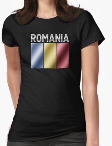 Romania - Romanian Flag & Text - Metallic Womens Fitted T-Shirt