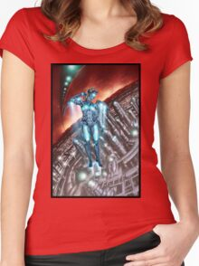 Retro Robot Painting 003 Women's Fitted Scoop T-Shirt