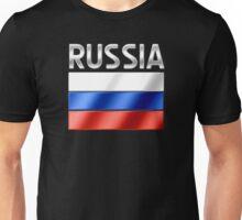 Russia - Russian Flag & Text - Metallic Unisex T-Shirt