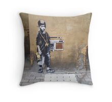 Banksy Kid Throw Pillow