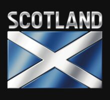 Scotland - Scottish Flag & Text - Metallic by graphix