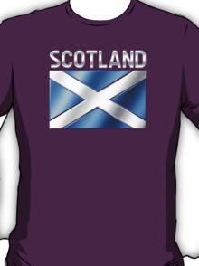 Scotland - Scottish Flag & Text - Metallic T-Shirt