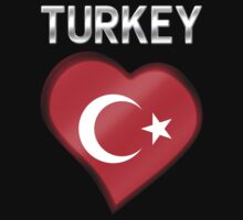 Turkey - Turkish Flag Heart & Text - Metallic Kids Clothes