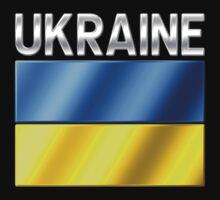 Ukraine - Ukrainian Flag & Text - Metallic One Piece - Short Sleeve