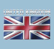 United Kingdom - British Flag & Text - Metallic Kids Tee